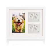 Petacc Pet Memorial Picture Frame Pet Paw Print Photo Frame Kit Pet Keepsakes Kit for Cats and Dogs, with Clays, for Room Wall or Table Decor