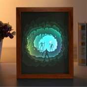 Lh & Fh Three-dimensional Creative 3D Paper Carved Lights Photo Frame Decoration Paintings Hanging Romantic Gifts