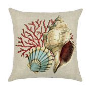 Originaltree Square Mediterranean Style Pillow Cover Conch Shell Linen Throw Cushion Case for Home Decor