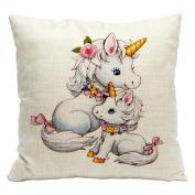 Fashion Unicorn Pattern Throw Pillow Case Sofa Bed Home Car Decor Cushion Cover
