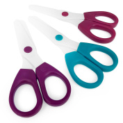 Westcott Children's Safety Scissors - Nylon Plastic Blade with Blunt Round Ended Tip - Pack of 3 - One of Each Colour