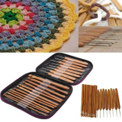 Inverlee 20Pcs Carbonise Bamboo Handle Crochet Hooks Knitting Needles Craft with Purple Case