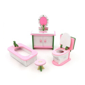 Miklan Dollhouse Miniature painted Wooden Furniture Kid Toys, Perfect Children's Toy with Kitchen, Living Room, Bathroom and Baby's Room etc