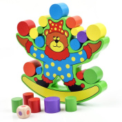Wooden Bear Balancing Toy, Puzzle Stacking Building Blocks Balance Board Table Game Educational Gift for Kids