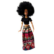 Africa Black Barbie Doll ,OUBAO Barbie Holiday Black Hair with Dress Doll Baby Movable Joint African Doll Toy Black Doll Best Gift Toy