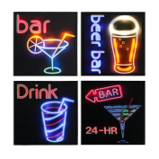 Xing Cheng 4 Panels Home Wall Decors Wall Art LED Pictures With MDF Backboard For Drinking