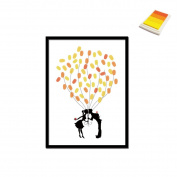 Creative Balloon Kiss DIY Fingerprint Signature Decorative Painting Birthday Party Wedding Canvas Painting 30x40cm