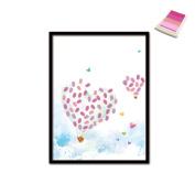 Love Balloon DIY Fingerprint Signature Decorative Painting Birthday Party Wedding Canvas Painting 30x40cm