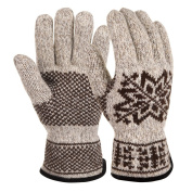 Vbiger Womens Winter Gloves Knitted Thermal Gloves with Plush Cuffs