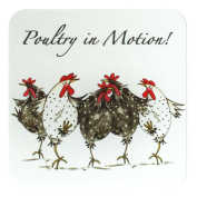 Chicken Coaster - Glass Coaster - Fun Coaster - Poultry in Motion