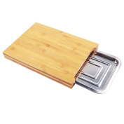 Bamboo Wooden Chopping Board Cutting Slicing +Sliding Stainless Steel Tray UK