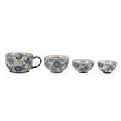 CERAMIC SET OF 4 BLUE WILLOW FLORAL MEASURING CUPS