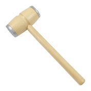 Round Wooden Meat Mallet with Metal Trim Double Sided Beech Wood with Clear Varnish Approx. 28 cm Shredding Knocker