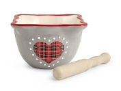 H & H Red Heart Ceramic Mortar with Pestle, Ceramic, Grey and Red, 12 x 12 x 9 cm