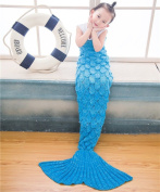 LAGHCAT Mermaid Tail Blanket with Scale Knit Crochet Mermaid Blanket for Kids,Sleeping Blanket,140cm x 70cm , Light Blue