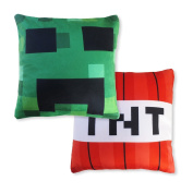 """Kids' Pillow Cover Set (TNT & Creeping Face, 12"""" x 12"""") Mining Fun Pillowcase, Minecraft and Video Game Inspired, Room Decoration, Fun Christmas or Birthday Gift"""