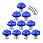 Cabinet Knobs,YIFAN 10Pcs 30mm Crystal Glass Diamond Shape Cabinet Knobs Cupboard Drawer Pull Handles - Dark Blue
