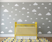 White Clouds Sky Wall Decals - Easy Peel + Stick 50 Clouds Pack - Kids Playroom Nursery Sky for Baby Boy or Girl - Vinyl Sticker Art Large Decoration Graphic Decor Mural