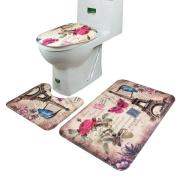 3pcs/set Bathroom Mats,WM & MW Paris Tower Modern Pedestal Rug + Lid Toilet Cover + Bath Mat