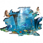 H4S Mermaid Dolphin Fish in Blue Ocean Sea 3D Peel and Stick Waterproof Non Slip PVC Floor Decals Stickers Bathroom Mats Rugs Sticker Art Home Decoration Wall Decals for Kids Living Room Bedroom