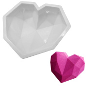 Chige Diamond Heart Mousse Cake Mould Trays, 20cm Silicone Baking Pan-Food Grade & BPA Free-Not Sticky Mould Suitable For Mousse,Chocolate Brownie,Jelly,Ice Cream,Chiffon,Cheesecake,Fondant