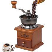 Manual Coffee Grinder - Premium Vintage Style Coffee Grain Burr Mill Machine with Catch Drawer, Conical Burr Mill, Spice Hand Grinding Machine, Hand-crank Roller Drive by Phelrena