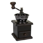 Evelyne GMT-10013 Wooden Base Manual Coffee Grinder Antique Mill Hand Crank