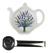 Adderley Bone China Tea Bag Coaster Caddy and Stainless Steel Tea Bag Squeezer England - Lavender