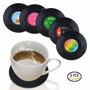 Miss.AJ 6pcs/set Vintage Vinyl Record Beverage Coasters Anti-slip Cup Coffee Mug Mat Heat Resistant Table Placemat
