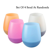 4PCS Silicone Wine Cups For Glassware & Drinkware , Portable Unbreakable Outdoor Rubber Wine Glasses , 410ml Bar Cocktail Shatterproof Hurricane Drinking Glasses For Travel , Picnic , Pool , Camping