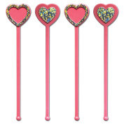 Royer 15cm Heart, Valentine's Day, Love Swizzle Sticks, Pink & Silver, Set of 24, Made in USA