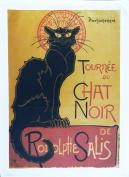 Tournee du Chat Noir - Retro Style Advertising Poster Large Cotton Tea Towel by Half a Donkey