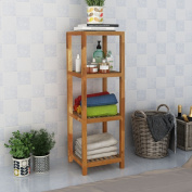Festnight Solid Wood Bathroom Storage Shelf Rack Stand Freestanding 36x36x112 cm