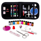 24PCS Cloth Sewing Kit with Case Bag, UPXIANG Mini Travel Sewing Kit Carrying Case Emergency Sewing Supplies Needles Work Sewing Weave Craft Accessories Storage Box