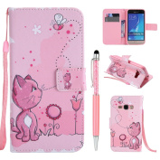 Leather Cover for Samsung Galaxy J1 2016 (Not for J1 2015) Case, ZCRO Leather Wallet Colourful Pattern Magnetic Closure Flip Cover Case with Card Holder Strap Stand Function Shell Ultra Thin Slim Fit Wallet Book Style Cute Design Phone Case for Samsung ..