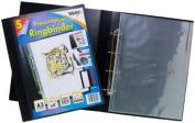 3xTiger A3 deluxe portrait 4-D ring binder folder file art black presentation portfolio + 5 sleeves