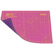ANSIO A4 Double Sided Self Healing 5 Layers Cutting Mat Imperial/Metric 9 Inch x 12 Inch / 22cm x 30cm - Super Pink / Royal Purple