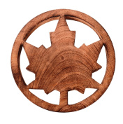 Purpledip Wooden Trivet 'Maple Leaf' Coaster Hot Pad Mat For Dining Table, Kitchen