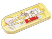 "OSK Peanuts Snoopy Trio Set Spoon,Fork & Chopsticks w/ Case CT-70cm Snoopy & Friends"" Yellow from Japan"