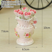 BB.er Cutlery Set fashion creative pastoral resin rose bottle stainless steel rose fruit fork