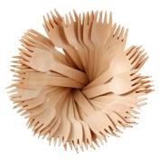 200PCS Birchwood Disposable Wooden Cutlery Fork - Biodegradable Forks