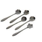 bismarckbeer 5Pcs/Set Stainless Steel Coffee Tea Measuring Spoons Latte Stirring Spoon Dessert Spoon