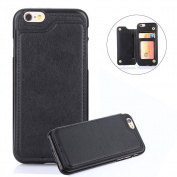 For iPhone 7 8 Wallet Phone Case,Aearl TPU Back Protective Bumper Shell Cover PU Leather Flip Credit Card Holder and ID Card Slot Pocket Purse,Free Screen Protector for Apple iPhone 8 7 - Black