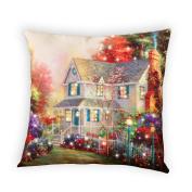 Fibre Optic Victorian House Accent Throw Pillow