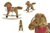 Plush Brown Rocking Horse With Sound Solid Construction Rocking Toy + eBook
