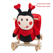 KARMAS PRODUCT 2-In-1 Ladybug Rocking Horse Solid Wood Rocking Chair with Wheels,Super Soft Plush Ride On Toys,Red