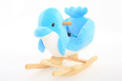 """DanyBaby Ultra Soft Rocking Animal Ride On Plush Dolphin Chair Embroidered Words """"I Love My Baby!"""""""