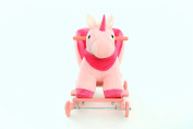 """DanyBaby Ultra Soft Rocking Animal Ride On Plush Unicorn Chair with Wheels Embroidered Words """"I Love My Baby!"""""""