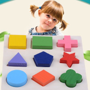 Xiangfeng 9 Pcs Multicolor & Multi-shaped Wooden Preschool Shape Puzzle Toys for Kids Children Toddler Boy Girl