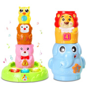 Baby Toys Stacking & Nesting Cups with Music and Light,Numbers & Animals Games The Best Early Educational Toddlers Toy Circus Animal Stacking Toys for Kids Baby